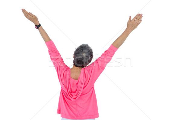 Hátsó nézet érett nő karok a magasban fehér nő siker Stock fotó © wavebreak_media