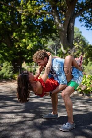 Nő előad görbület testmozgás edző erdő Stock fotó © wavebreak_media