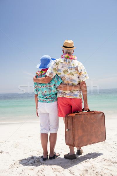 Widok z tyłu starszy para girlanda patrząc morza Zdjęcia stock © wavebreak_media