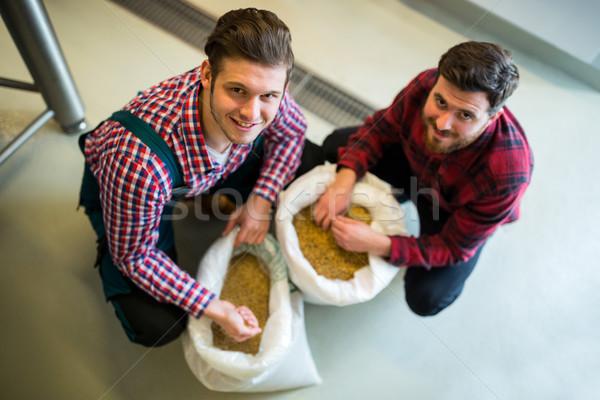 Brewers examining grains Stock photo © wavebreak_media