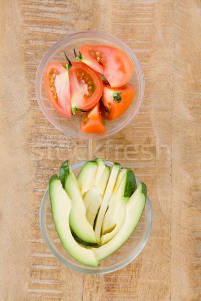 Tomato and avocado slices in bowl Stock photo © wavebreak_media