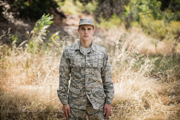 Portret militaire soldaat permanente gras man Stockfoto © wavebreak_media