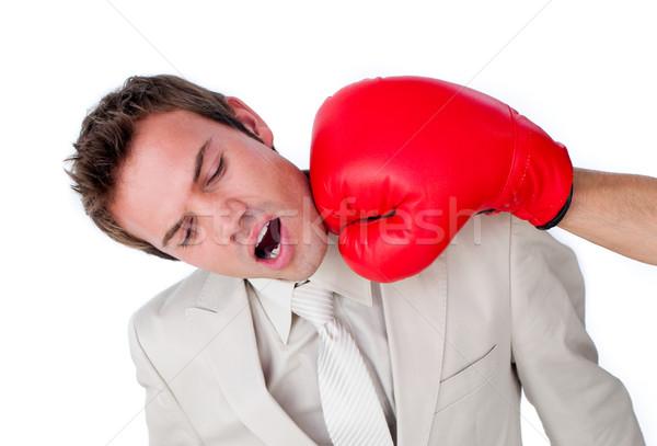 бизнесмен боксерская перчатка изолированный белый спорт Сток-фото © wavebreak_media