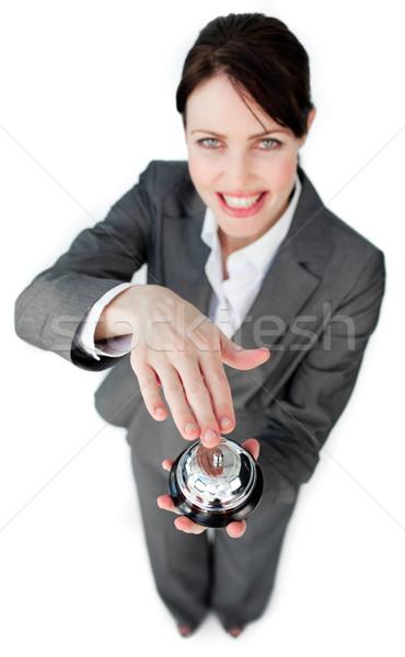 Alegre empresária serviço sino branco negócio Foto stock © wavebreak_media