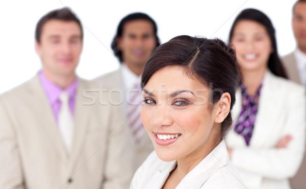 Charmant vrouwelijke uitvoerende presenteren team witte Stockfoto © wavebreak_media