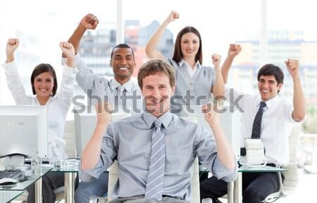 Enthousiast business team vieren succes kantoor business Stockfoto © wavebreak_media