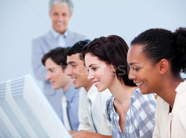 Zagęszczony zespół firmy pracy kierownik komputera kobieta Zdjęcia stock © wavebreak_media