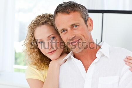портрет влюбленный любителей спальня улыбка любви Сток-фото © wavebreak_media