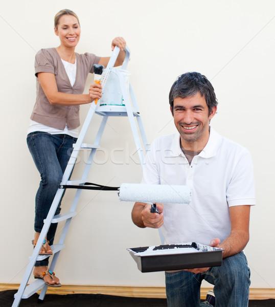 Boldog férfi nő szoba mozgás ház Stock fotó © wavebreak_media