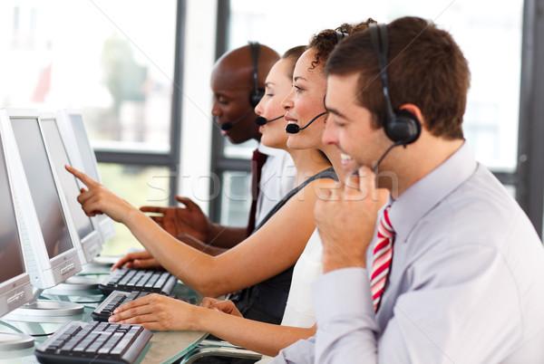 Atraente empresário trabalhando call center jovem negócio Foto stock © wavebreak_media