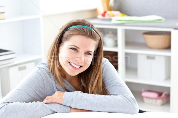 Portre neşeli genç kadın gülen kamera livingroom Stok fotoğraf © wavebreak_media