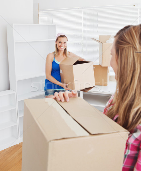 Two smiling women carrying boxes at home in their new location Stock photo © wavebreak_media