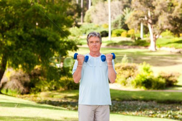 зрелый человек парка человека здоровья человек смеясь Сток-фото © wavebreak_media