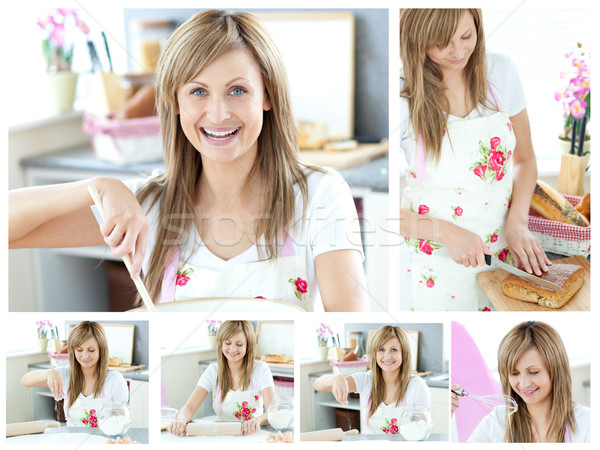 Collage of a beautiful woman cooking at home Stock photo © wavebreak_media