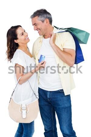 Retrato hombre sorprendente esposa presente blanco Foto stock © wavebreak_media