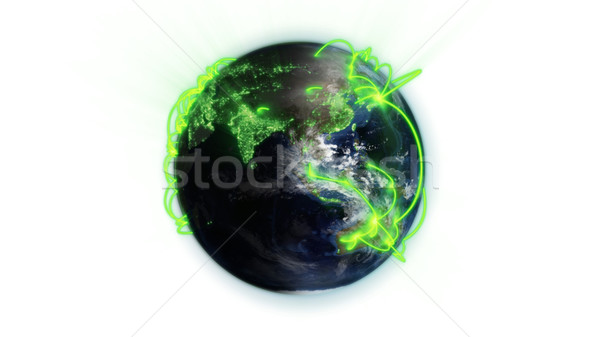 Illustrated green connections on world against white background with an Earth image courtesy of Nasa Stock photo © wavebreak_media