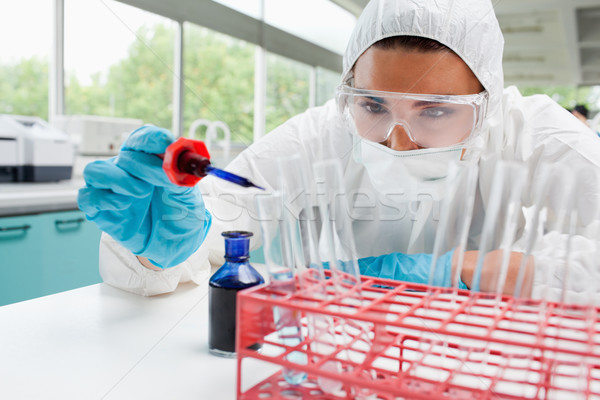 Protected cute female scientist dropping blue liquid in a test tube in a laboratory Stock photo © wavebreak_media