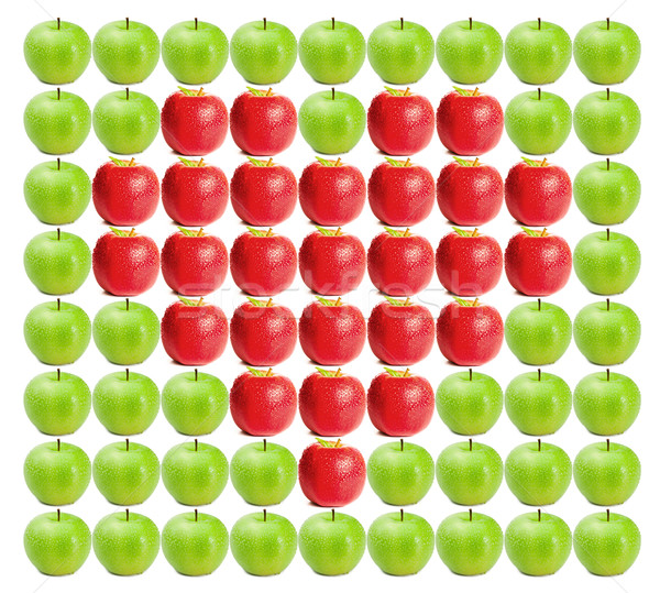 Green wet apples with red apples in between on a white background Stock photo © wavebreak_media