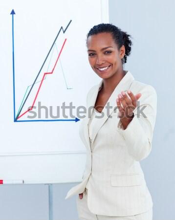 Başparmak yukarı gülümseyen kadın beyaz mutlu Stok fotoğraf © wavebreak_media