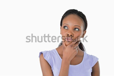 Genç kadın düşünme bir şey beyaz arka plan Stok fotoğraf © wavebreak_media