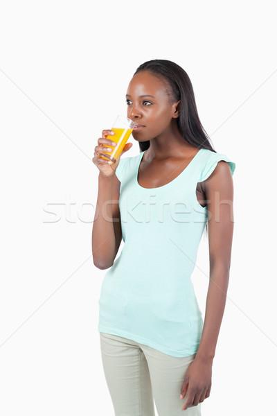 ストックフォト: 若い女性 · 飲料 · オレンジジュース · 白 · ガラス · 健康