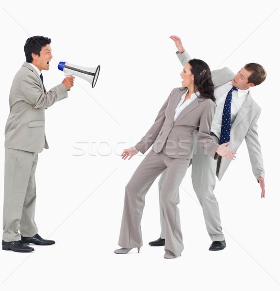 üzletember megafon kiált kollégák fehér férfi Stock fotó © wavebreak_media