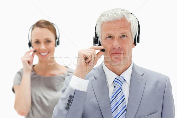 Siwe włosy człowiek uśmiechnięta kobieta zestawu Zdjęcia stock © wavebreak_media