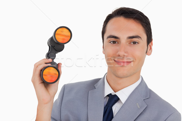 Primer plano sonriendo empresario binoculares blanco sonrisa Foto stock © wavebreak_media