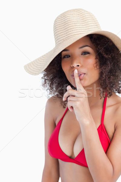 Attrattivo silenzio bianco Hat Foto d'archivio © wavebreak_media