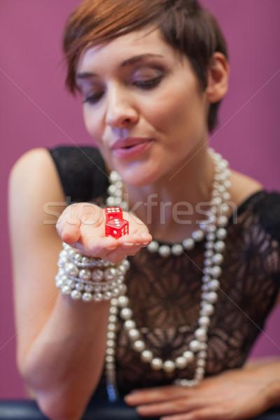 Dados mujer suerte casino mano póquer Foto stock © wavebreak_media