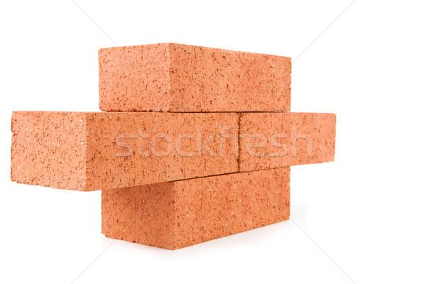 Cuatro arcilla ladrillos pared blanco Foto stock © wavebreak_media