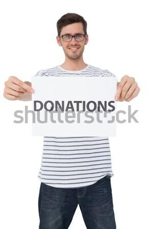 肖像 若い男 ブランクカード 幸せ ストックフォト © wavebreak_media