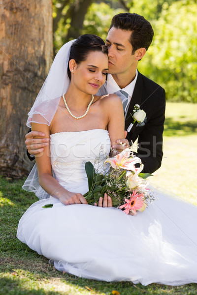 Groom kissing his beautiful bride at park Stock photo © wavebreak_media