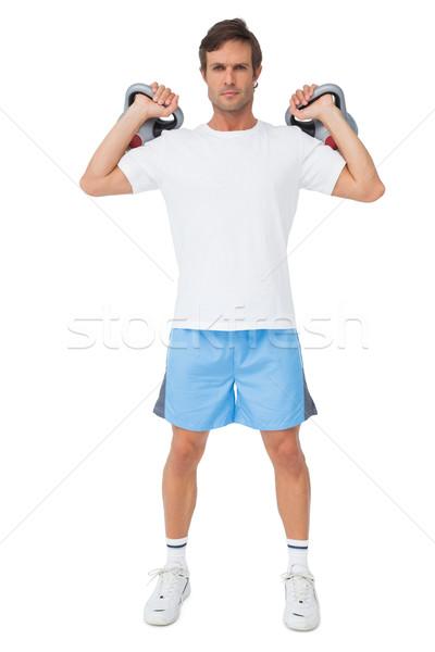 Teljes alakos portré fitt férfi emel fiatalember Stock fotó © wavebreak_media
