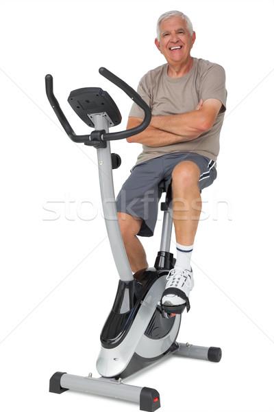 Teljes alakos portré idős férfi mozdulatlan bicikli Stock fotó © wavebreak_media