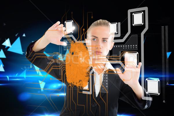 Szőke nő üzletasszony megérint interfész ujjlenyomat digitális kompozit Stock fotó © wavebreak_media