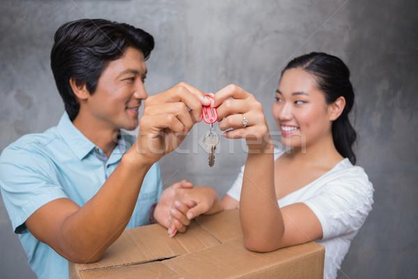 Boldog pár tart ház kulcs dől Stock fotó © wavebreak_media