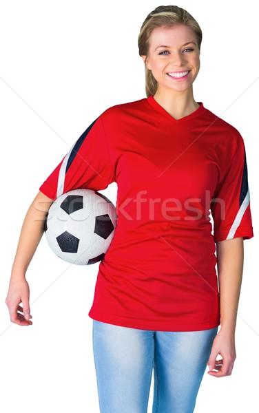 Güzel futbol fan kırmızı beyaz futbol Stok fotoğraf © wavebreak_media