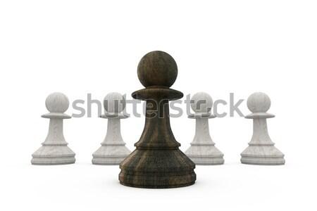 Preto em pé branco xadrez equipe Foto stock © wavebreak_media
