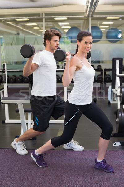 Caber casal juntos ginásio esportes Foto stock © wavebreak_media