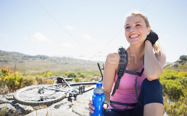 Passen ziemlich Radfahrer Aufnahme Pause Spitze Stock foto © wavebreak_media