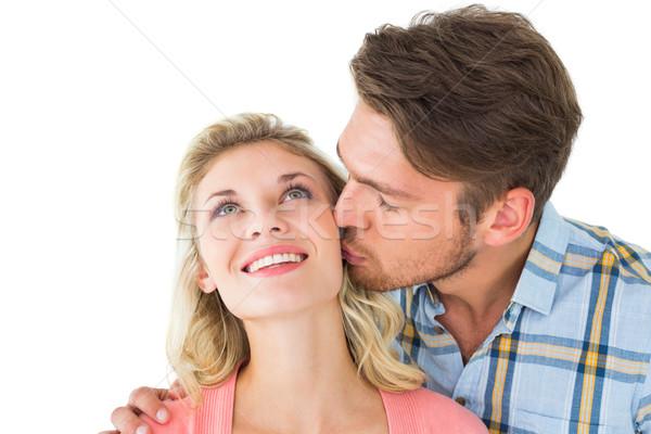 Homem bonito beijando namorada bochecha branco homem Foto stock © wavebreak_media