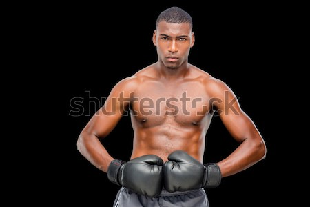 Portrait torse nu musculaire boxeur noir sport Photo stock © wavebreak_media