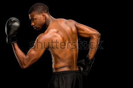 Torse nu musculaire boxeur posant noir sport Photo stock © wavebreak_media