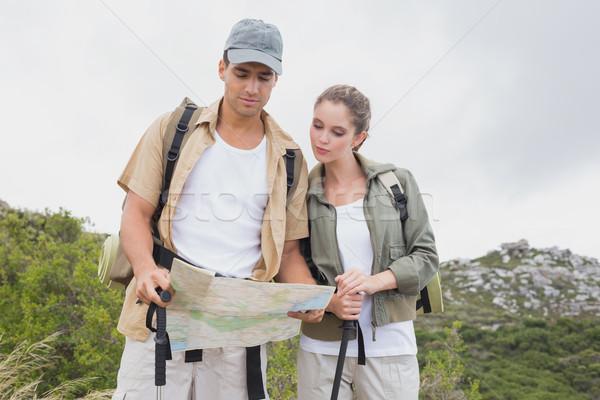 пару глядя карта горные местность походов Сток-фото © wavebreak_media