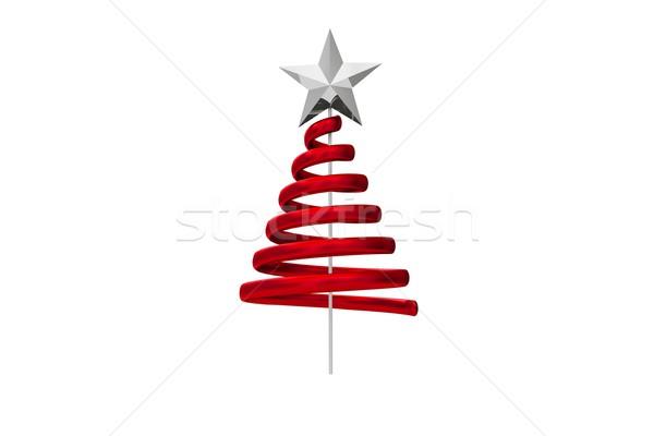 Rood kerstboom spiraal ontwerp witte Stockfoto © wavebreak_media