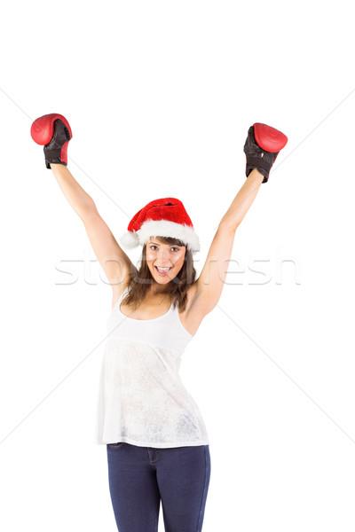 Feestelijk brunette juichen bokshandschoenen witte gelukkig Stockfoto © wavebreak_media
