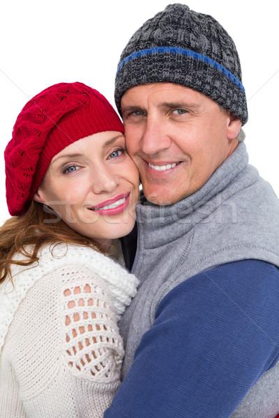 Mutlu çift sıcak tutacak giysiler beyaz kadın Stok fotoğraf © wavebreak_media