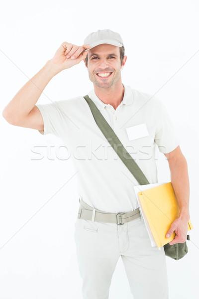 Glücklich tragen cap Porträt weiß Stock foto © wavebreak_media