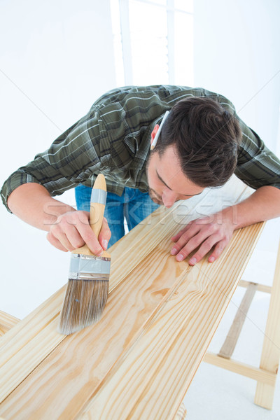 Carpenter using brush on wooden plank Stock photo © wavebreak_media